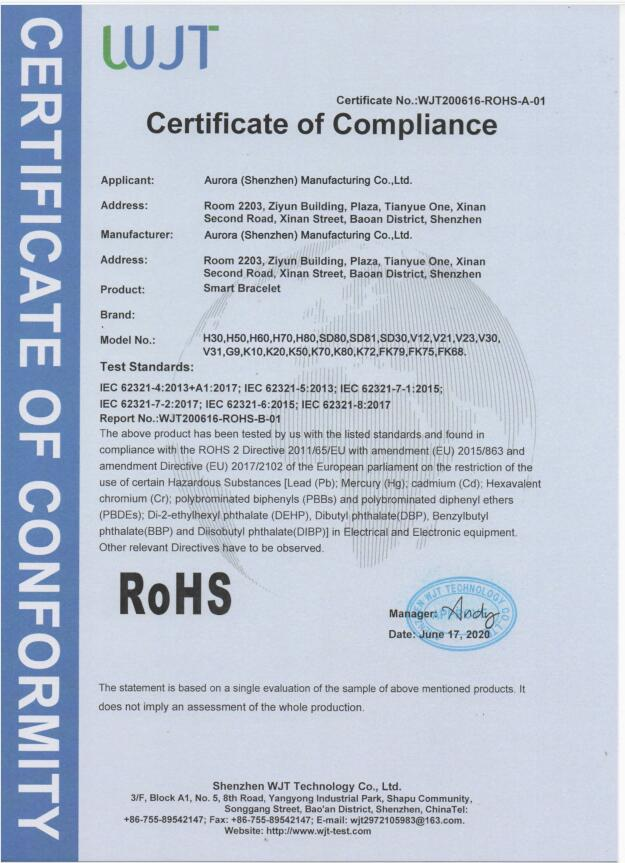 iSmarch Rohs 1 certifications